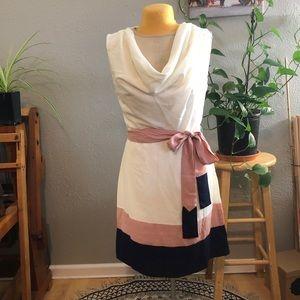 White color block skinny dress